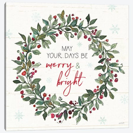 Holiday on the Farm IX Merry and Bright Canvas Print #ATA149} by Anne Tavoletti Canvas Wall Art