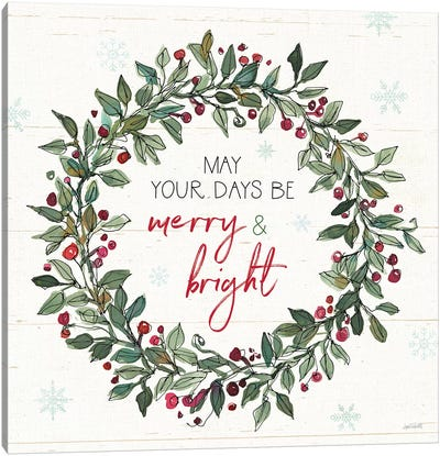 Holiday on the Farm IX Merry and Bright Canvas Art Print