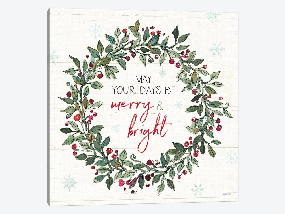 Holiday on the Farm IX Merry and Bright by Anne Tavoletti 1-piece Canvas Art