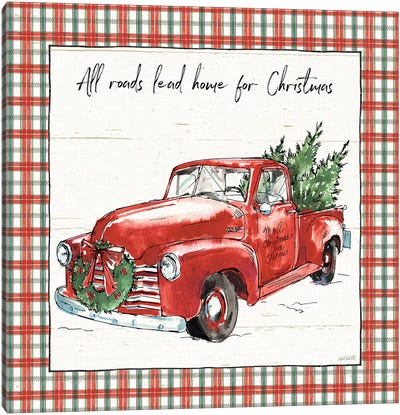 Holiday on the Farm VI - Plaid Canvas Art Print