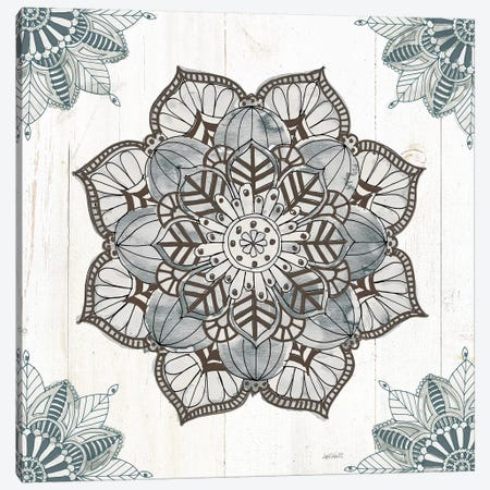 Mandala Morning V In Blue And Gray Canvas Print #ATA1} by Anne Tavoletti Canvas Art Print