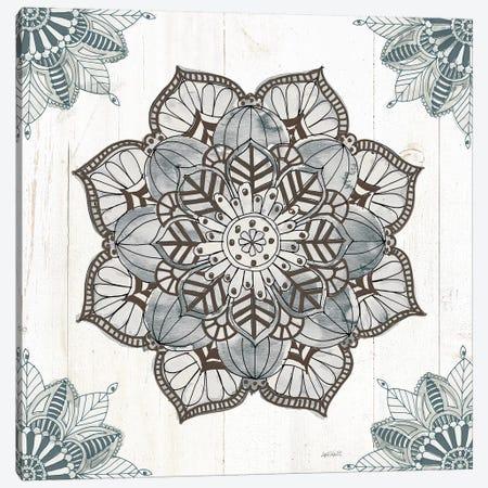 Mandala Morning V In Blue And Gray Canvas Print #ATA1} by Anne Tavoletti Canvas Art Print