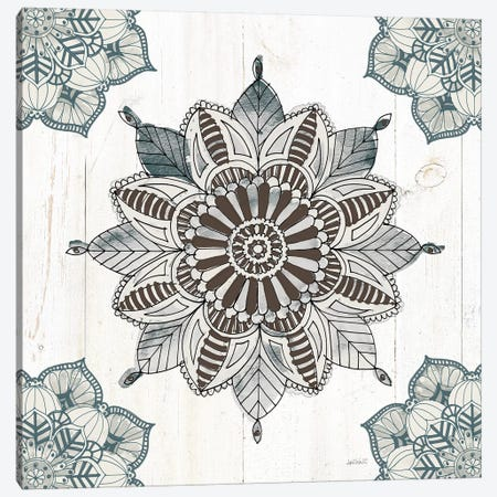 Mandala Morning VI In Blue and Gray Canvas Print #ATA2} by Anne Tavoletti Canvas Art Print