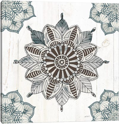 Mandala Morning VI In Blue and Gray Canvas Art Print