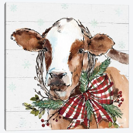 Christmas Cow Canvas Print #ATA48} by Anne Tavoletti Canvas Art