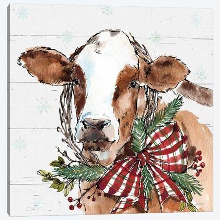 Christmas Cow Canvas Print #ATA48} by Anne Tavoletti Canvas Art