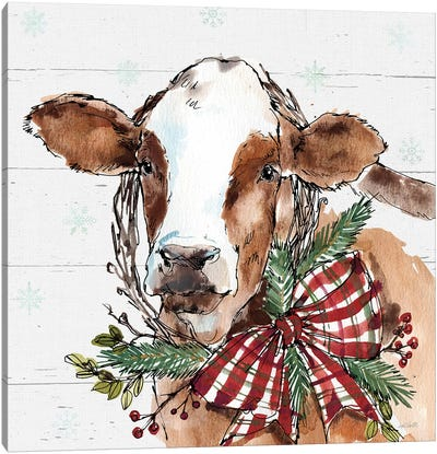 Christmas Cow Canvas Art Print