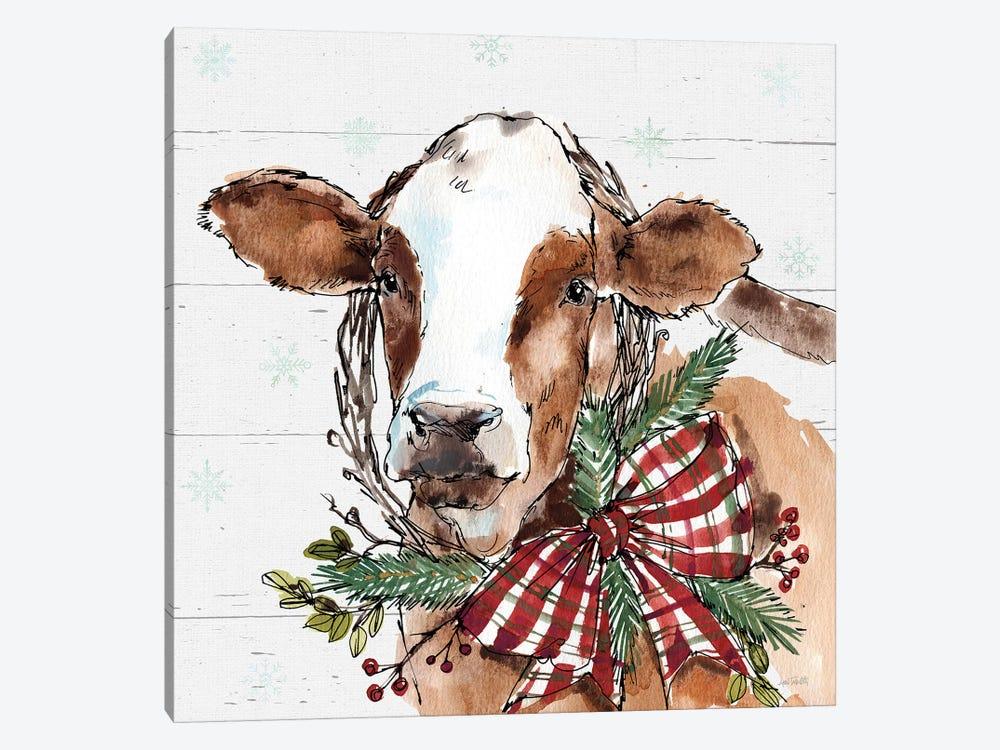 Christmas Cow by Anne Tavoletti 1-piece Canvas Print
