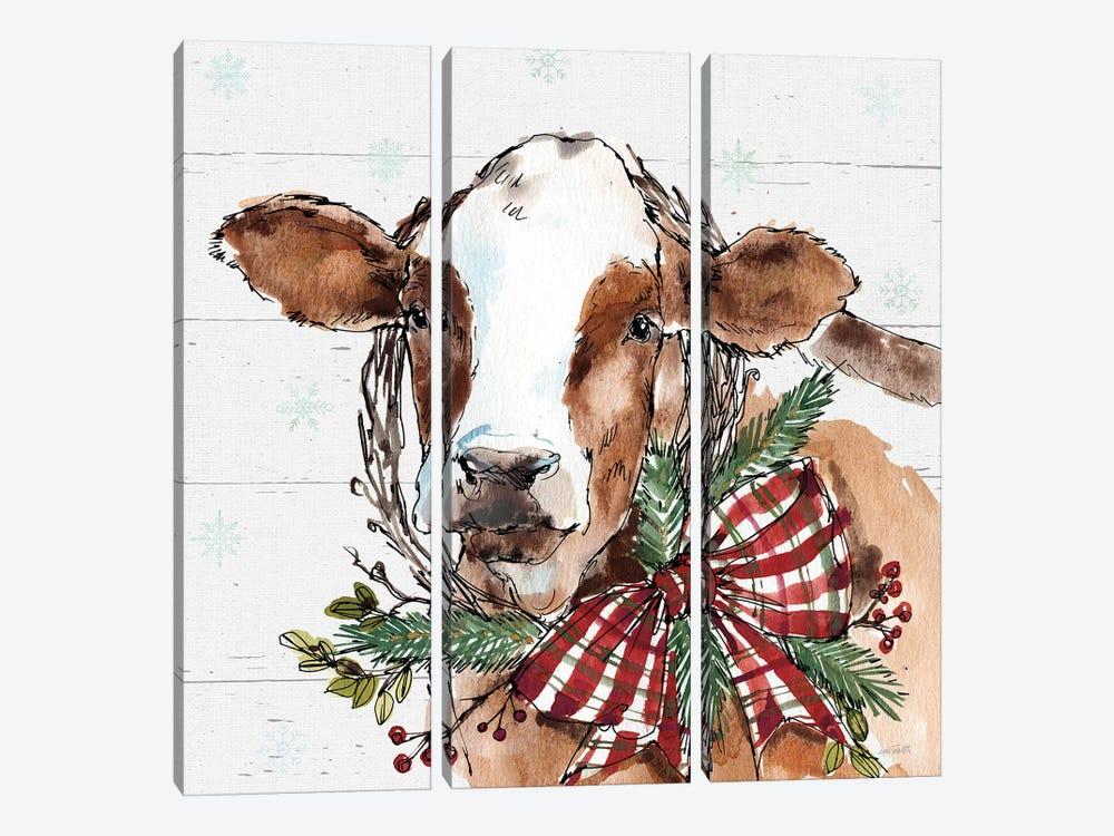 Christmas Cow by Anne Tavoletti 3-piece Canvas Art Print