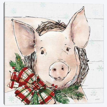 Christmas Pig Canvas Print #ATA49} by Anne Tavoletti Canvas Wall Art