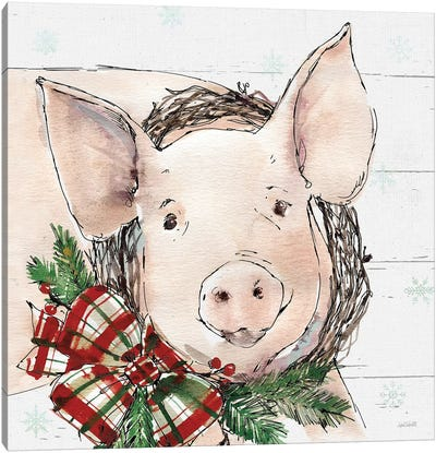 Christmas Pig Canvas Art Print