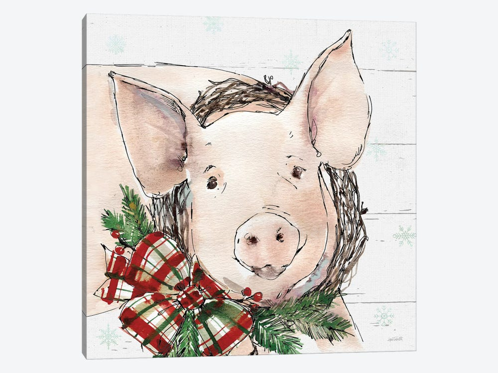 Christmas Pig 1-piece Canvas Art
