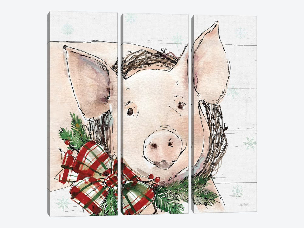 Christmas Pig by Anne Tavoletti 3-piece Canvas Art