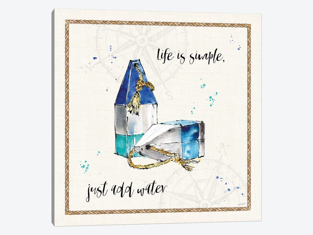 Coastal Buoys VI Life Is Simple by Anne Tavoletti 1-piece Canvas Wall Art