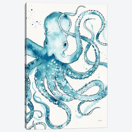 Deep Sea VIII Teal Canvas Print #ATA82} by Anne Tavoletti Canvas Wall Art