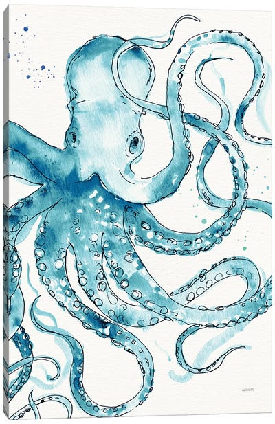Deep Sea VIII Teal Canvas Art Print