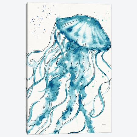 Deep Sea X Teal Canvas Print #ATA83} by Anne Tavoletti Canvas Artwork