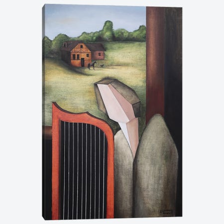 Angel Playing The Harp By The Open Window Canvas Print #ATF104} by Alexander Trifonov Canvas Wall Art