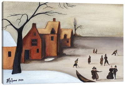On The Frozen Lake Canvas Art Print