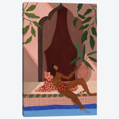 Holiday With My Leopard Canvas Print #ATG33} by Arty Guava Canvas Print