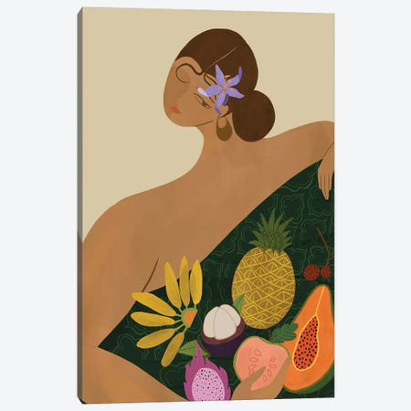 The Fruit Seller Canvas Print #ATG37} by Arty Guava Canvas Artwork