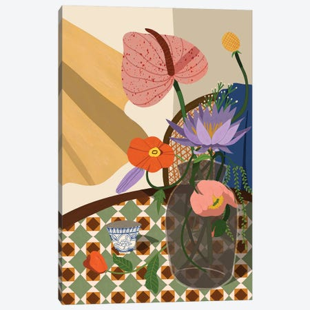 Flowers On The Dining Table Canvas Print #ATG39} by Arty Guava Art Print