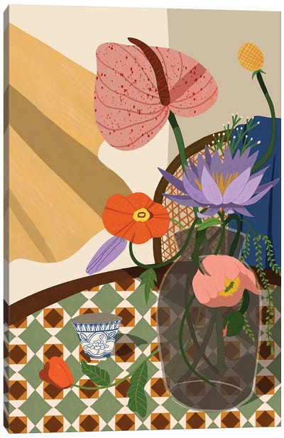 Flowers On The Dining Table Canvas Art Print