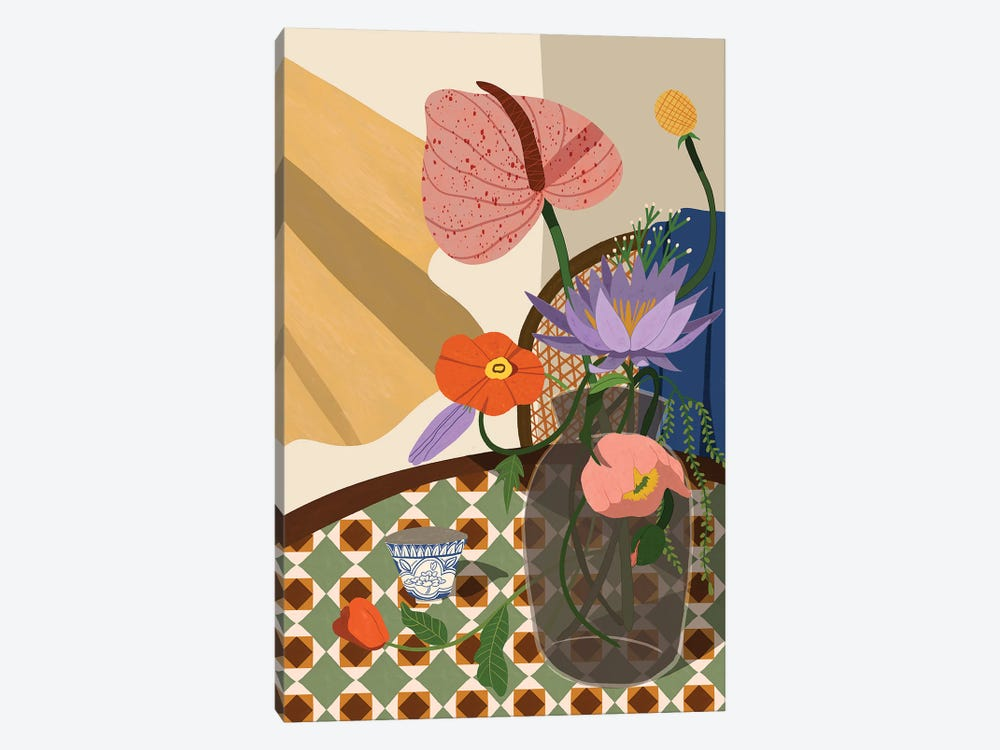 Flowers On The Dining Table by Arty Guava 1-piece Art Print