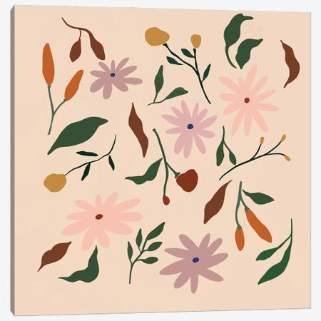 Floral Pattern Canvas Print #ATG41} by Arty Guava Canvas Artwork