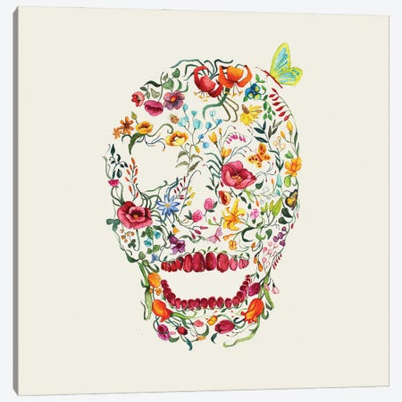 Floral Skull Canvas Print #ATG42} by Arty Guava Canvas Art