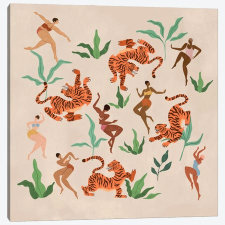 Dancing With Tigers Canvas Print #ATG48} by Arty Guava Canvas Wall Art