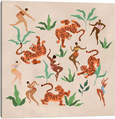 Dancing With Tigers Canvas Art Print