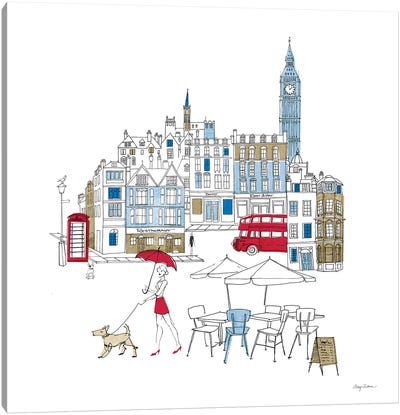 World Cafe I London Color Canvas Art Print