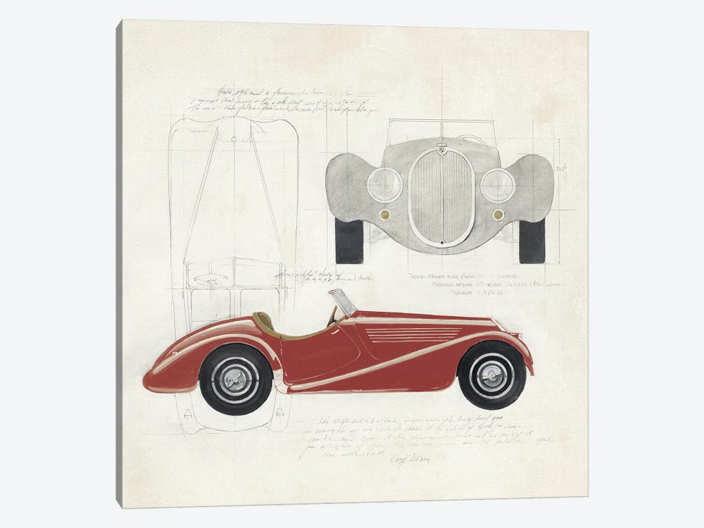 Roadster I Red Car by Avery Tillmon 1-piece Canvas Wall Art