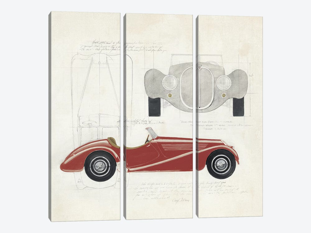 Roadster I Red Car by Avery Tillmon 3-piece Canvas Wall Art
