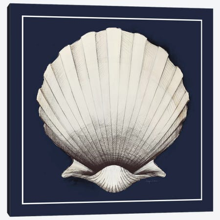 Coastal Shell II with Border Navy Canvas Print #ATI32} by Avery Tillmon Canvas Art Print