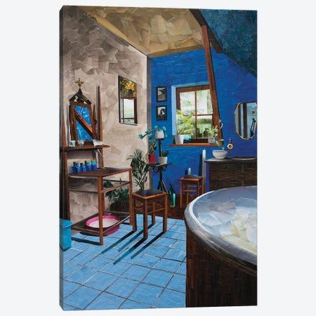 Blue Bathroom Canvas Print #ATK49} by Albin Talik Canvas Artwork