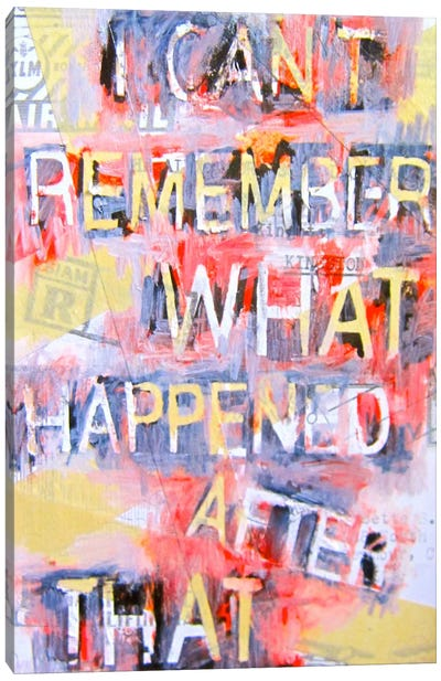 I Can't Remember What Happened Canvas Art Print