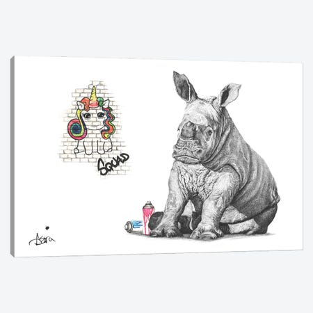Chubby Unicorn Squad Canvas Print #ATT14} by Astra Taylor-Todd Art Print