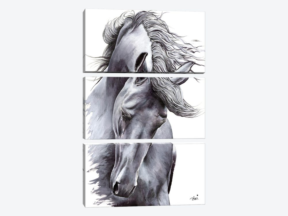 White Horse by Astra Taylor-Todd 3-piece Canvas Wall Art
