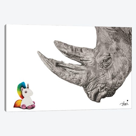 Unicorns Do Exist... They're Chubby Not Fluffy. Canvas Print #ATT6} by Astra Taylor-Todd Canvas Wall Art