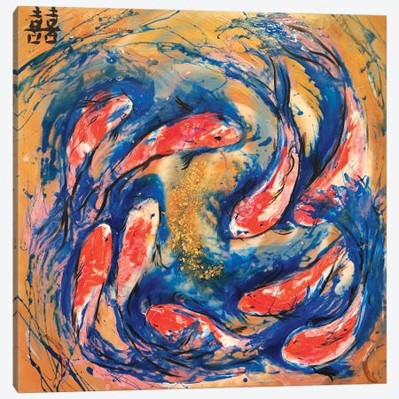 Double Luck With Koi Fish Canvas Print #ATU15} by Antuanelle Canvas Art