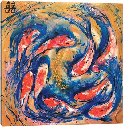 Double Luck With Koi Fish Canvas Art Print