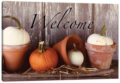 Welcome Pumpkin Shelf Canvas Art Print