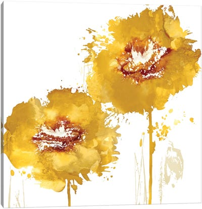 Flower Burst In Amber I Canvas Art Print