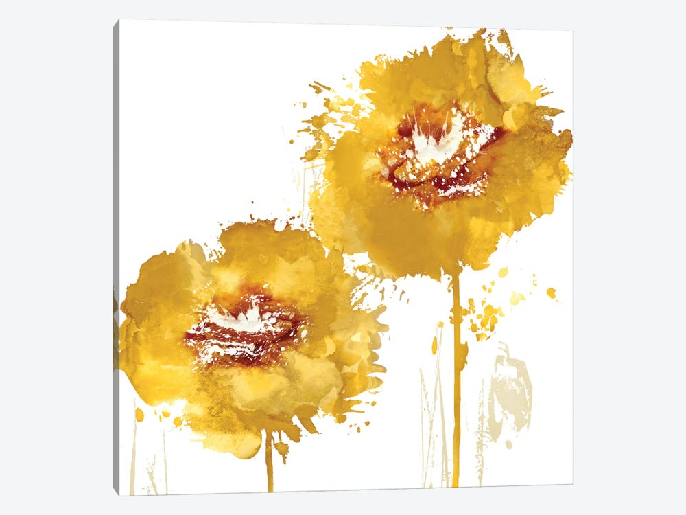 Flower Burst In Amber I 1-piece Canvas Wall Art