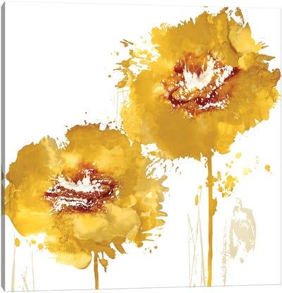 Flower Burst In Amber I Canvas Art Print