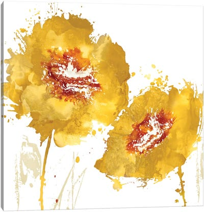 Flower Burst In Amber II Canvas Art Print