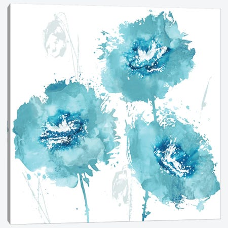 Flower Burst In Aqua I Canvas Print #AUS12} by Vanessa Austin Canvas Wall Art