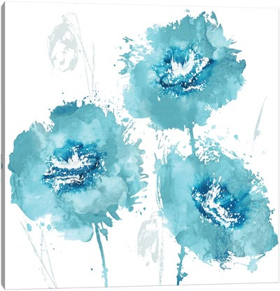 Flower Burst In Aqua I Canvas Print #AUS12